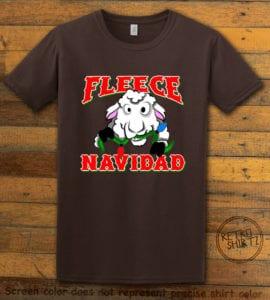 Fleece Navidad Graphic T-Shirt - brown shirt design