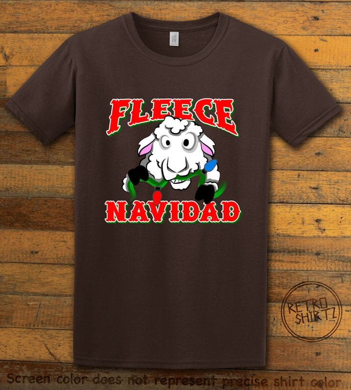 Fleece Navidad Graphic T-Shirt - brown shirt design