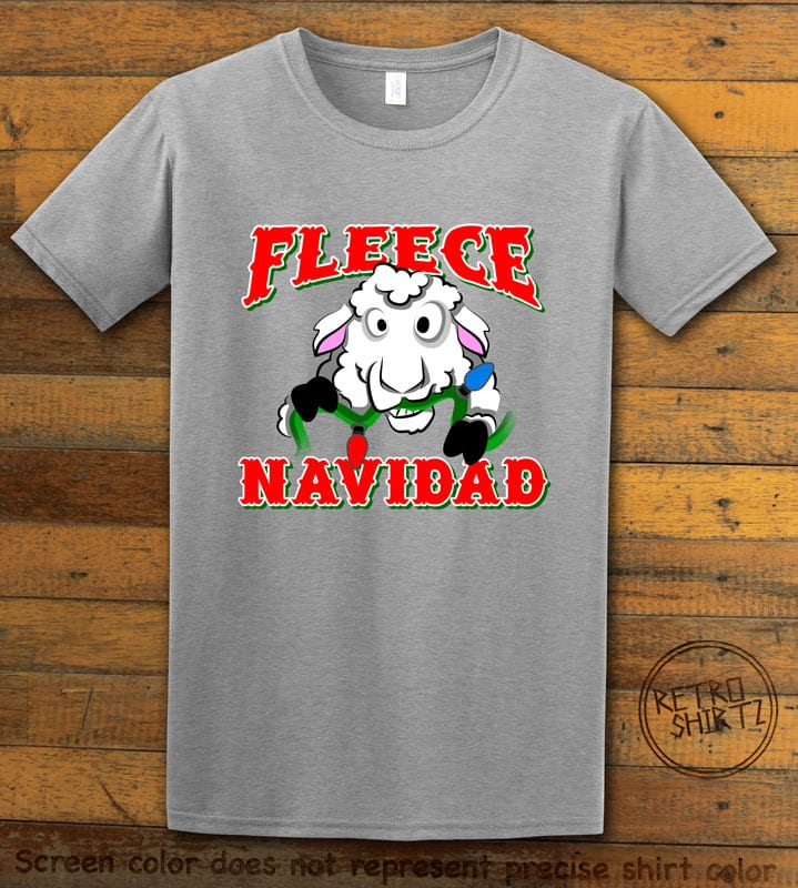 Fleece Navidad Graphic T-Shirt - grey shirt design