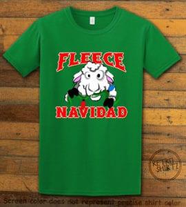 Fleece Navidad Graphic T-Shirt - green shirt design