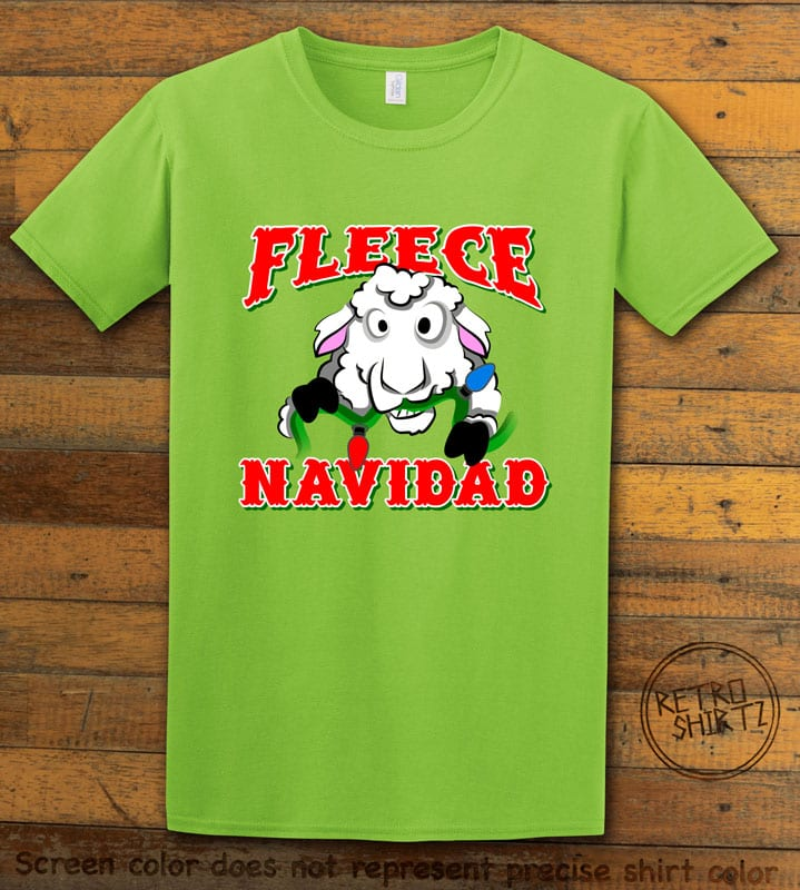 Fleece Navidad Graphic T-Shirt - lime shirt design