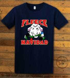 Fleece Navidad Graphic T-Shirt - navy shirt design