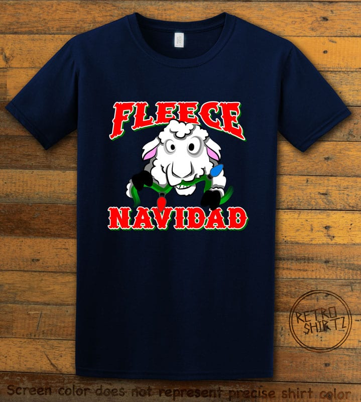 Fleece Navidad Graphic T-Shirt - navy shirt design