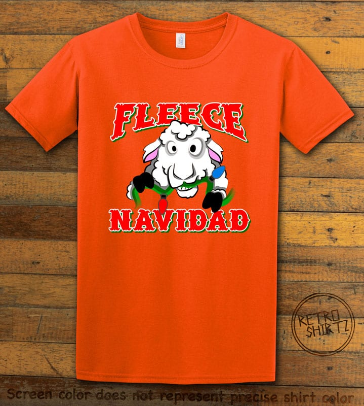 Fleece Navidad Graphic T-Shirt - orange shirt design