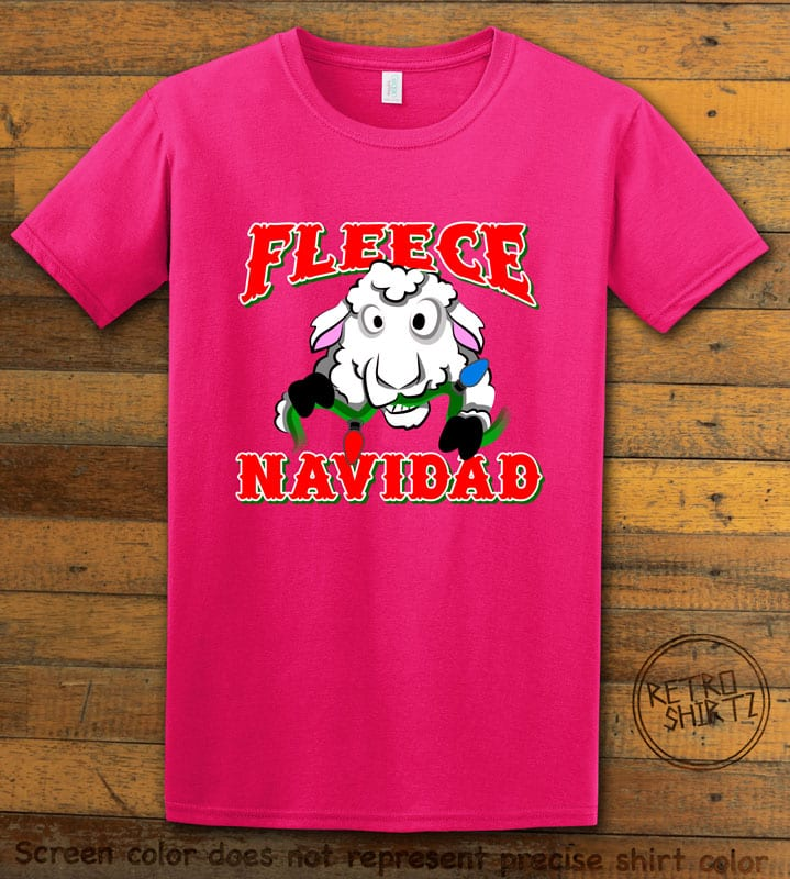 Fleece Navidad Graphic T-Shirt - pink shirt design