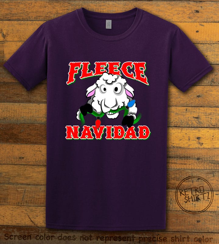 Fleece Navidad Graphic T-Shirt - purple shirt design