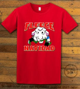 Fleece Navidad Graphic T-Shirt - red shirt design