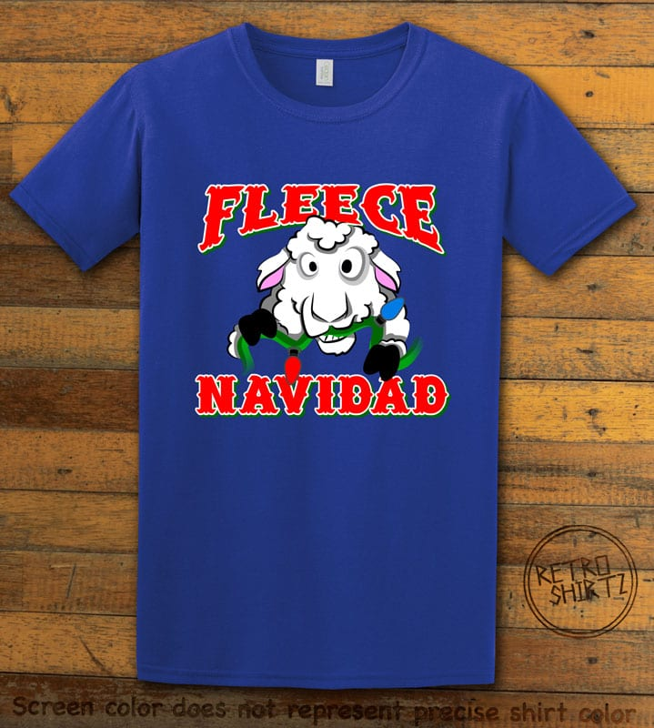 Fleece Navidad Graphic T-Shirt - royal shirt design