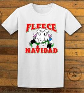 Fleece Navidad Graphic T-Shirt - white shirt design