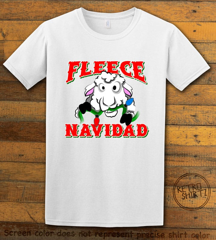 Fleece Navidad Graphic T-Shirt - white shirt design
