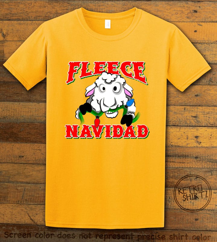 Fleece Navidad Graphic T-Shirt - yellow shirt design