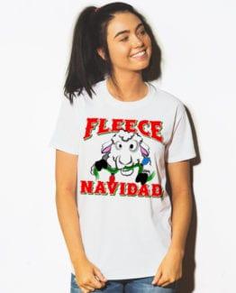 Fleece Navidad Graphic T-Shirt - white shirt design on a model