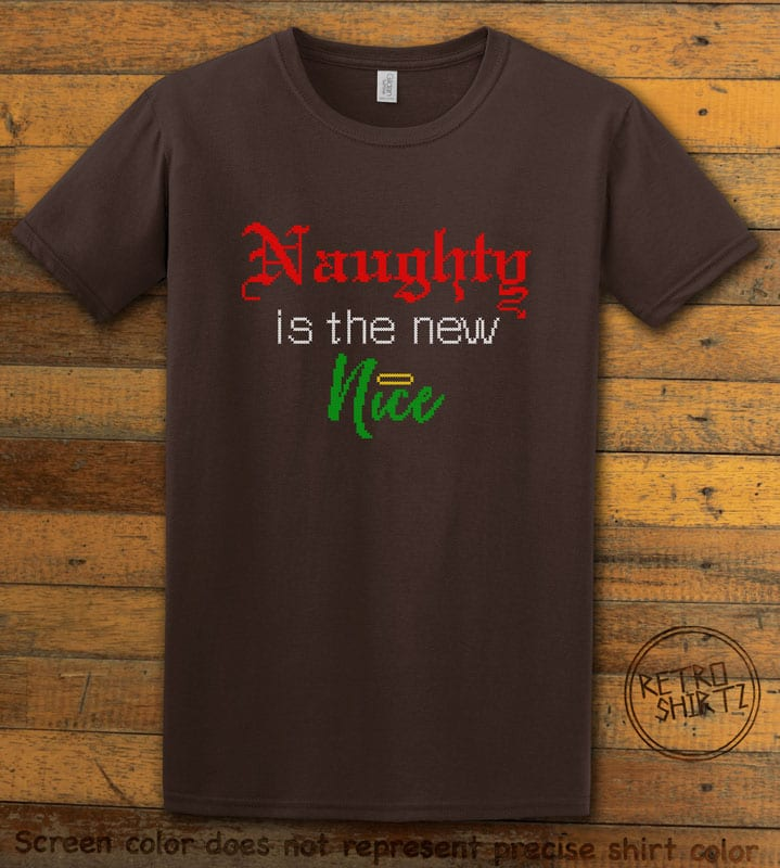Naughty is the New Nice Graphic T-Shirt - brown shirt design