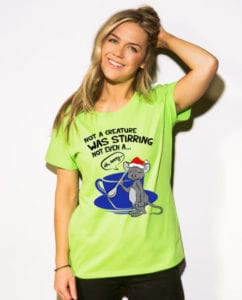 Stirring Mouse Graphic T-Shirt - lime shirt design on a model