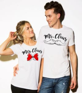 Mr. Claus Graphic T-Shirt - white shirt design on models