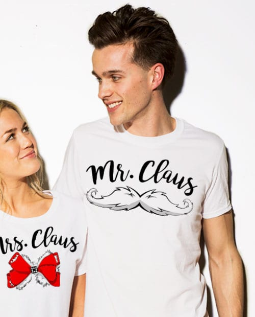 Mr. Claus Graphic T-Shirt - white shirt design on a model