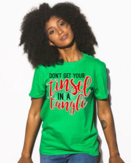 Don't Get Your Tinsel In A Tangle Graphic T-Shirt - green shirt design on a model