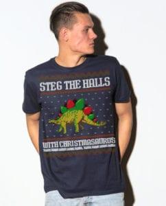 Steg The Halls Graphic T-Shirt - navy shirt design on a model