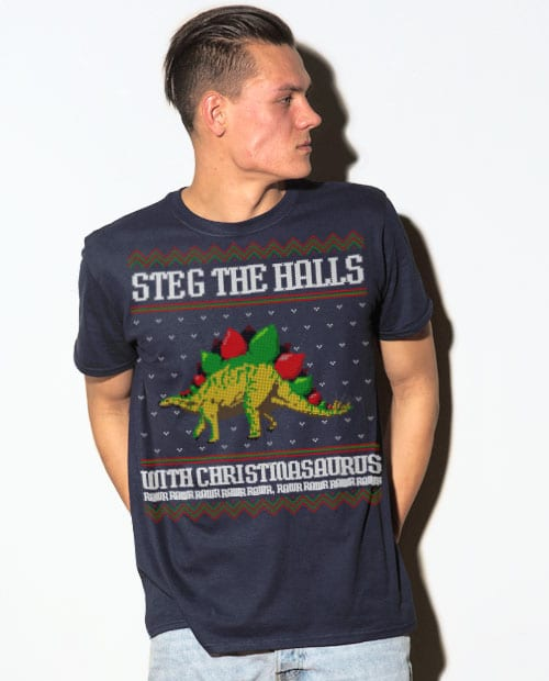 Steg The Halls Graphic T-Shirt - navy shirt design on a model