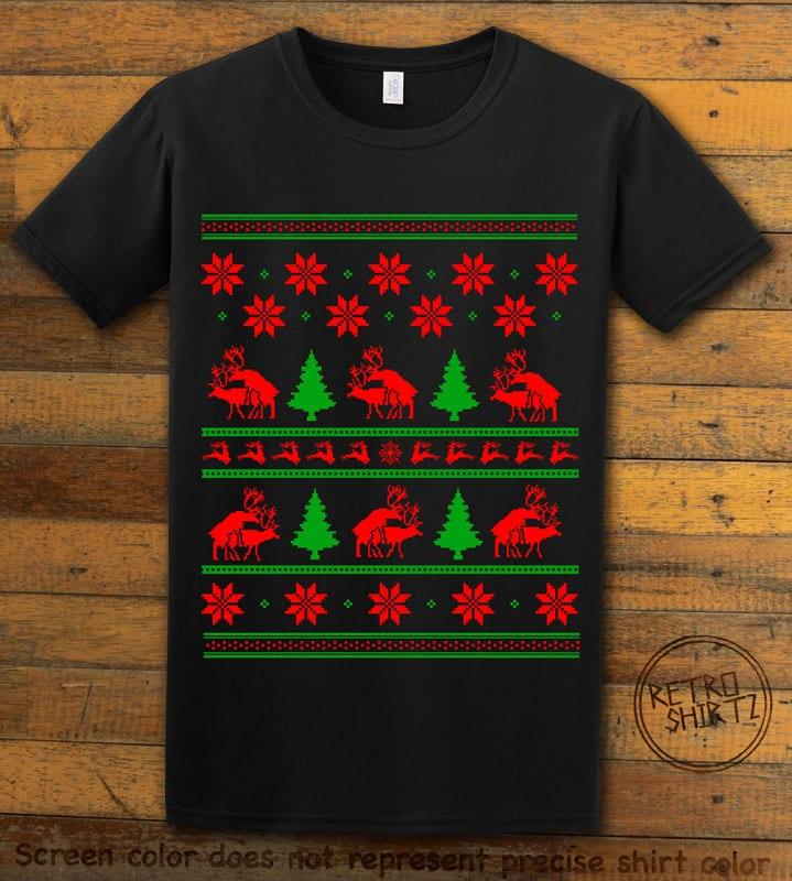 Humping Reindeer Graphic T-Shirt - black shirt design