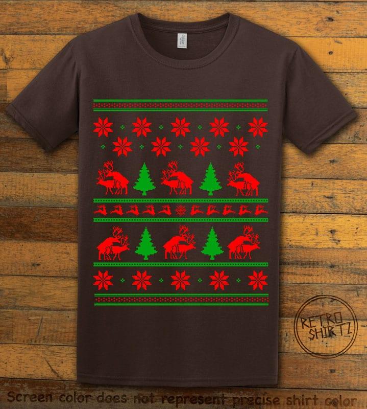 Humping Reindeer Graphic T-Shirt - brown shirt design
