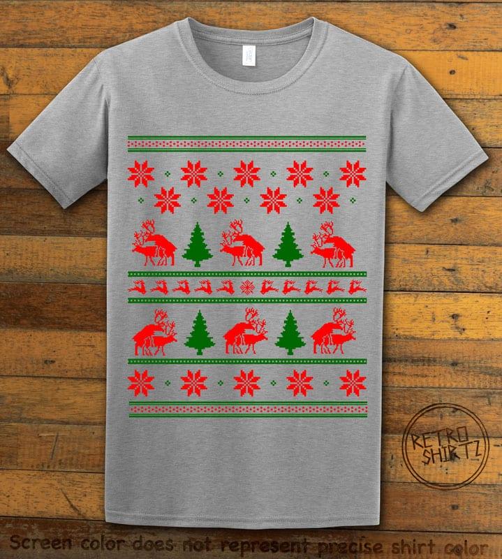 Humping Reindeer Graphic T-Shirt - grey shirt design