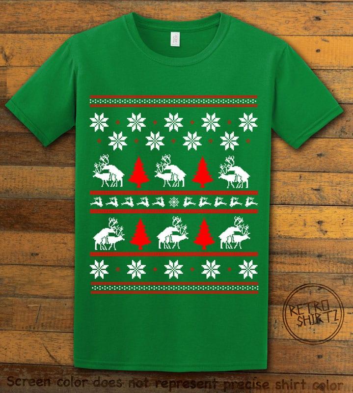 Humping Reindeer Graphic T-Shirt - green shirt design