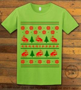Humping Reindeer Graphic T-Shirt - lime shirt design
