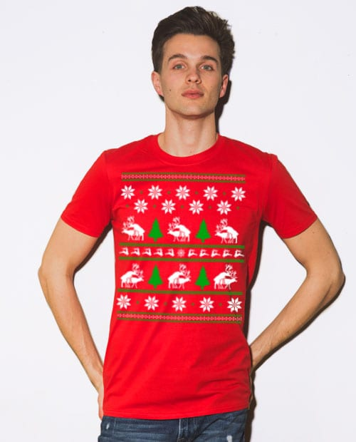 Humping Reindeer Graphic T-Shirt - red shirt design on a model
