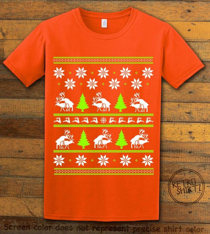 Humping Reindeer Graphic T-Shirt - orange shirt design
