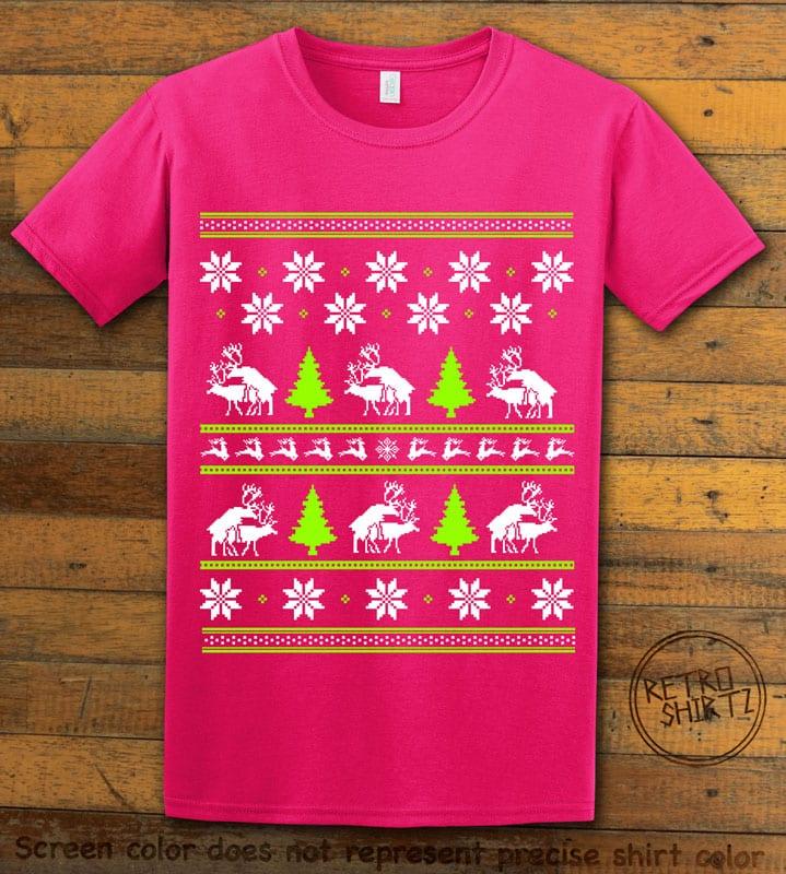 Humping Reindeer Graphic T-Shirt - pink shirt design
