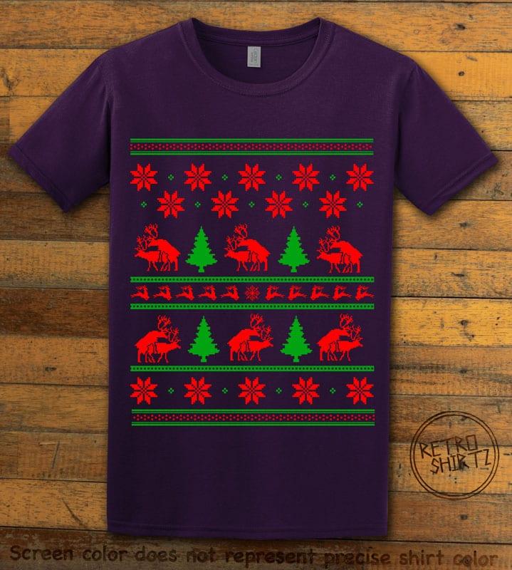 Humping Reindeer Graphic T-Shirt - purple shirt design