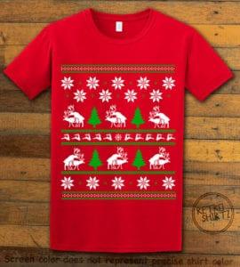Humping Reindeer Graphic T-Shirt - red shirt design