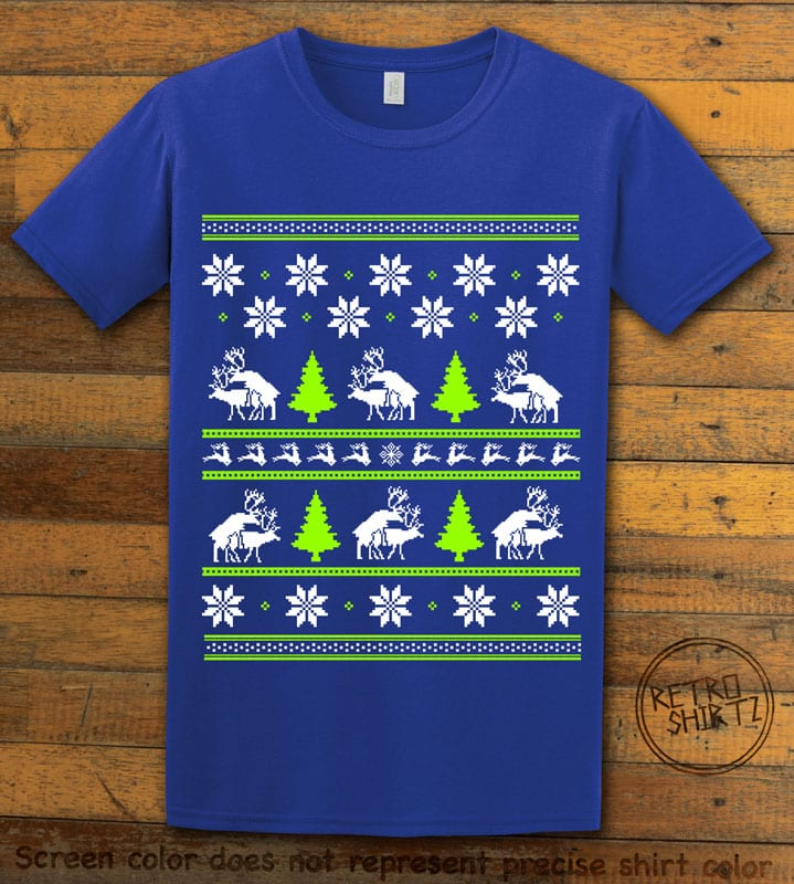 Humping Reindeer Graphic T-Shirt - royal shirt design