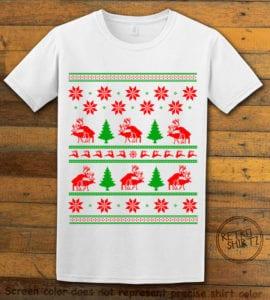 Humping Reindeer Graphic T-Shirt - white shirt design