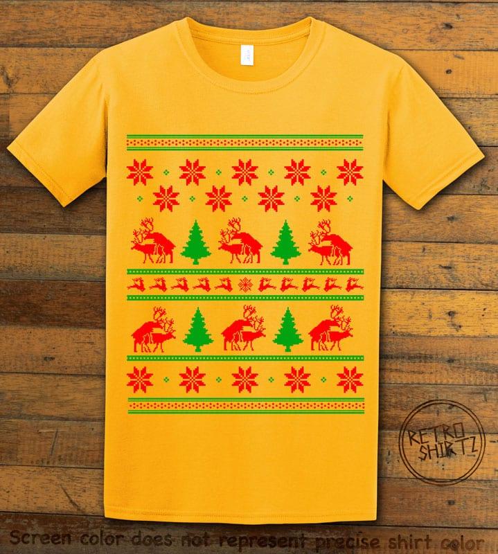Humping Reindeer Graphic T-Shirt - yellow shirt design