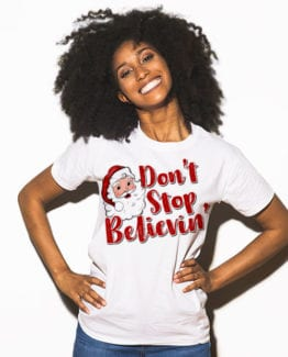 Don't Stop Believin' Graphic T-Shirt - white shirt design on a model