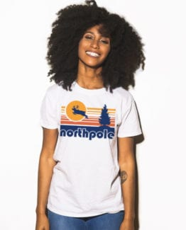 The North Pole Graphic T-Shirt - white shirt design on a model