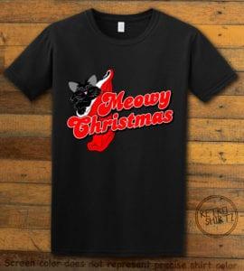 Meowy Christmas Graphic T-Shirt - black shirt design