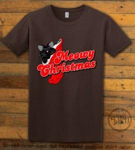 Meowy Christmas Graphic T-Shirt - brown shirt design