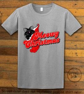 Meowy Christmas Graphic T-Shirt - grey shirt design