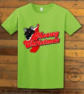 Meowy Christmas Graphic T-Shirt - lime shirt design