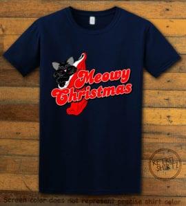 Meowy Christmas Graphic T-Shirt - navy shirt design