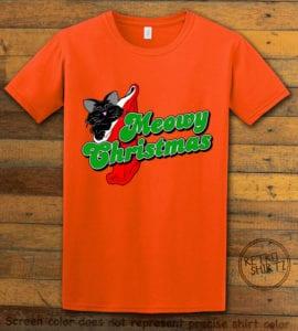 Meowy Christmas Graphic T-Shirt - orange shirt design