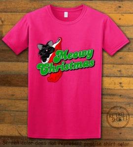 Meowy Christmas Graphic T-Shirt - pink shirt design