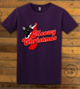 Meowy Christmas Graphic T-Shirt - purple shirt design