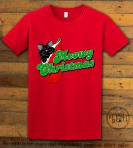 Meowy Christmas Graphic T-Shirt - red shirt design