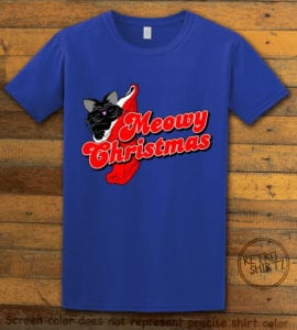 Meowy Christmas Graphic T-Shirt - royal shirt design