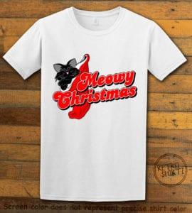 Meowy Christmas Graphic T-Shirt - white shirt design