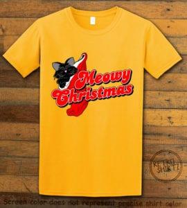 Meowy Christmas Graphic T-Shirt - yellow shirt design
